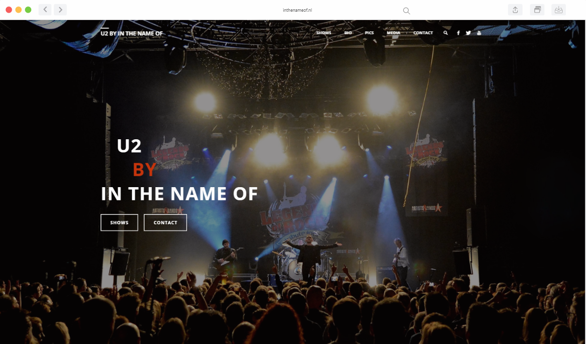 Preview van de website van In The Name Of