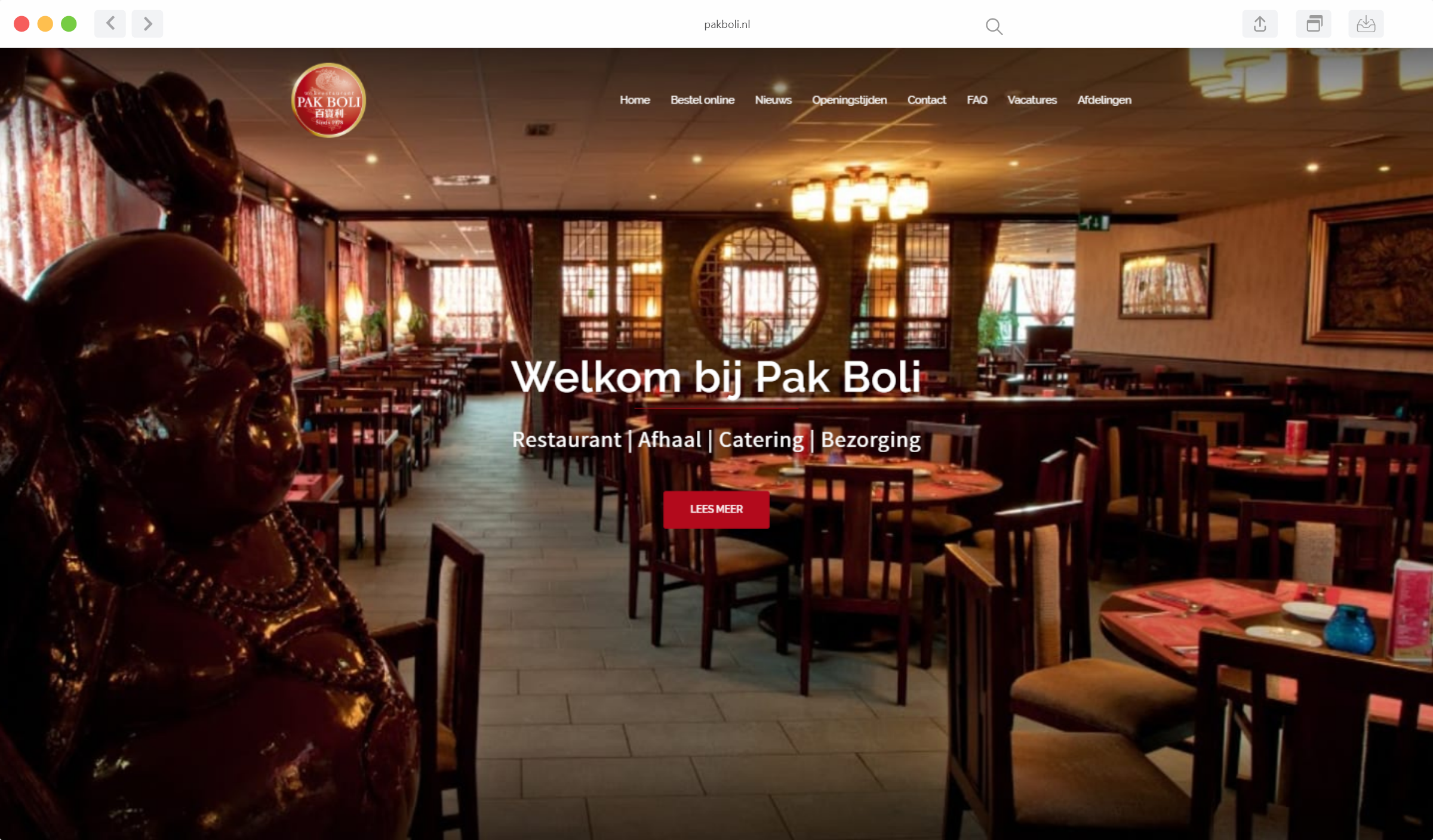 Preview van de website van Pak Boli