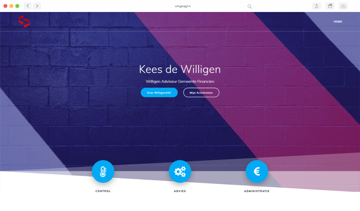 Preview van de website van WilligenAGF